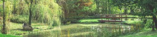 Una piccola barchina in legno consente di remare tra le fronde dei salici che lambiscono l'acqua.
